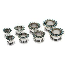 2pcs Screw Ear Plugs Retro Hollow Stainless Steel Tunnel Expander 6mm - 10mm