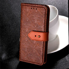 Vintage Flower Embossed Flip Leather Wallet Case Stand Cover For iPhone Samsung