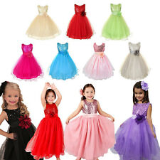 Girls Sleeveless Flower Wedding Bridesmaid Dress Party Prom Pageant Dress 3-10Y