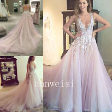 Pink Wedding Dress Long Sleeveless V Neck Applique Long Train Bridal Beach Gown