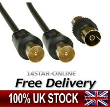 RF Coax Coaxial Digital TV Aerial Cable Fly Lead Flylead Extension Gold M/M Plug