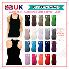Ladies Long Racer Back Vest Top Womens Strappy Plain Bodycon Vest Tank Top