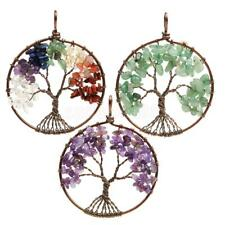 Mothers Day Gift Natural Gemstone Chip Beads Tree of Life Pendant For Necklace