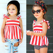 Kids Girls Stripped Sleeveless T-shirt Round Neck Shirts Tops Blouse Vest 0-24 M