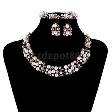 Women Bridal Wedding Pearl Rhinestone Crystal Bracelet Necklace Earring Set