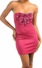 Dress Sequin Bow Strapless Magenta Rosette Cocktail S M L New Mini Party Tube