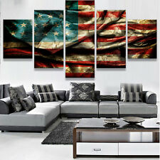 American Flag Picture Canvas Painting Wall Framed Abstract Modern Art Home Decor