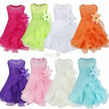 Baby Girls Princess Flower Ruffles Wedding Party Pageant Baptism Tutu Dresses