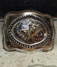 3D Silver Strike Bull Rider Cowboy Rodeo Trophy Belt Buckle Very Good Condition