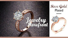 18K Rose Gold Plated Engagement Ring 6 Prongs Setting AAA Cubic Zirconia Stone