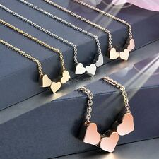 Fashion Women Three Heart Charms Pendant Necklace Jewelry Gift OO5502