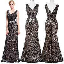 Sequined Long Bridesmaid Evening Gown Formal Cocktail Party Ballgown Prom Dress*