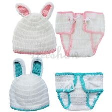 Newborn Babys Crochet Knit Rabbit Costume Photo Photography Prop Hats Outfits