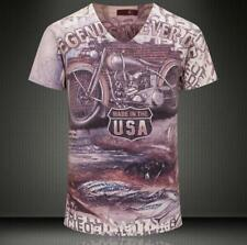 Men's Just Cavalli USA Letters Classic Motorcycle Pattern V-neck 3Size T-Shirt