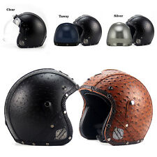 Super All Seasons Retro 3/4 Half Harley Helmet +Bubble Visor Motorcycle H215 DOT