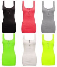 1s Ladies Womens Diamante Racer Muscle Back Stretch Button Ribbed Vest Top 8-14