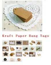 100pcs BLANK  Kraft Paper Hang Tags w/String Punch Label Price Gift Cards FF