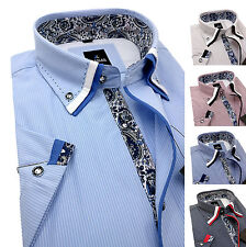 Men's Striped Cotton Shirt Button down Double collar Formal Casual Short sleeve