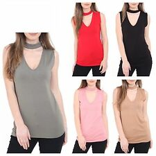 Women Choker V Neck Sleeveless Vest Top Ladies Collar Cut Out Plunge Blouse Tee
