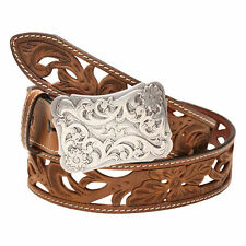 Angel Ranch Western Womens Belt Leather Floral Filigree Distressed Brown A2072