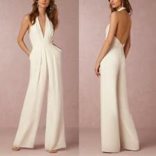 Women's Halter Neck Backless Wide Leg Long Pants Jumpsuits Evening Party Rompers
