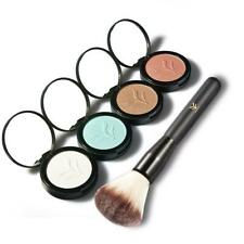 Makeup Shimmer Face Highlighter Bronzing Pressed Powder Eyeshadow w/ Brush Set