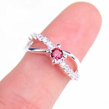 Fashion Red Crystal Inaly Fashion 925 Sterling Silver Ring Size 8 Jewelry H687