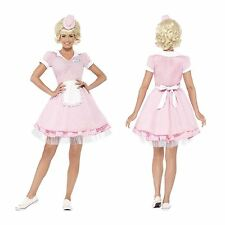 Ladies Pink Diner Girl 50s Waitress Costume Fancy Dress Grease Rock Roll Outfit