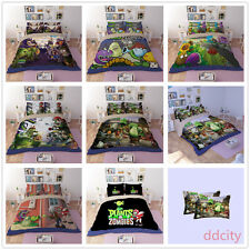 3D Zombies Duvet Cover Set Flat/Fitted Sheet Pillowcase Plants Bedding Cover Set
