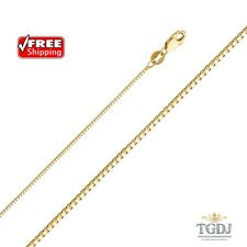 """14K Solid Yellow Gold 1 mm Box Necklace Pendant Chain  - 16""""/18''/20""""/22/24"""""""