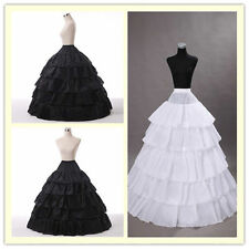 New Bridal Petticoat Wedding 4 Hoop Ruffle Crinoline Underskirt Gown Dress Skirt