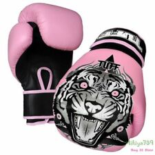 Tiger Leather Pink Boxing Gloves 16 oz Womens Muay Thai Boxing Gloves MMA Kids