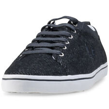 Fred Perry Hallam Herringbone Twill Mens Trainers Charcoal New Shoes