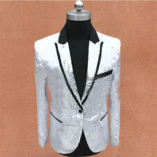Mens Lapel Collar One Button Sequins Bling Costumes Wedding Blazers Coat Outwear
