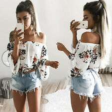 Women Floral Print Off Shoulder T-Shirts Casual Long Sleeve Chiffon Tops Blouses