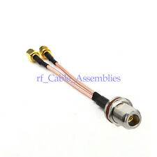 N Female bulkhead to Y type 2X RP SMA Male Splitter Combiner cable pigtail RG316