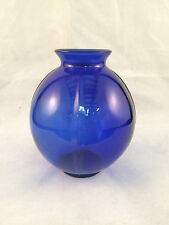 "Cobalt Blue Round Glass Vase 4-1/2"" Tall"