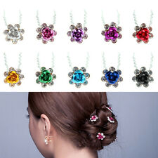 5pcs Rose Flower Crystal Multicolor Wedding Party Bridal Prom Hair Pin Clips