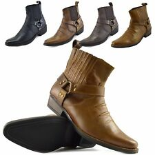 Mens Cowboy Leather Ankle Boots Biker Boots Leather Pointed Toe Mens Cowboy Boot
