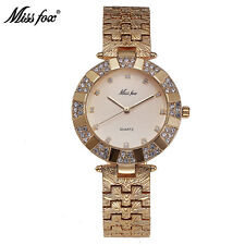 New Fashion Women Quartz Watch Gold Crystal Rhinestone Dress Ladies Wristwatch