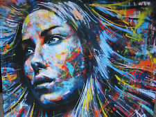 Huge Art Painting girl  hair urban princess  street  Authentic  By Pepe