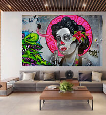 Huge Art Painting GOTHIC  clown girl  street  Authentic  By Pepe