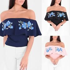 Womens Ladies Flower Embellished Frill Bardot Neck Quality Gypsy Crop Top Blouse