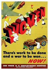 WWII World War II Rosie The Riveter Work To Be Done War To Be Won Retro Poster
