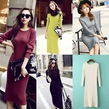 Womens Winter Long Sleeve Slim Sweater Jumper Knit Ladies Bodycon Mini Dress AU