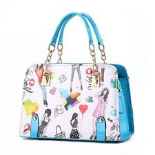 Printed Stylish Solid Pattern Chain Decorated Handbag for Women PQN227
