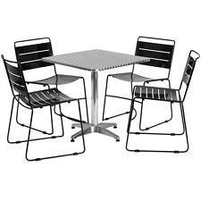 Skovde 27.5'' Square Aluminum Patio Table Set with 4 Metal Stack Chairs 500 lbs