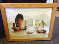 Oil on Canvas Nautical Ship Painting Framed & Signed Stephen 28-3/4 x 23-1/4""