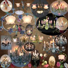 Enchanted sweet shaped porcelain floral crystal chandelier, ceiling, wall lights
