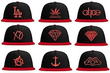 Original Schwarzmarkt Snapback Cap in red Many Motifs bulls kings obey dope xo